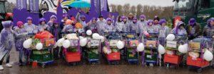 Große lila Einkaufs-Flotte, gemeinsam handeln macht stark