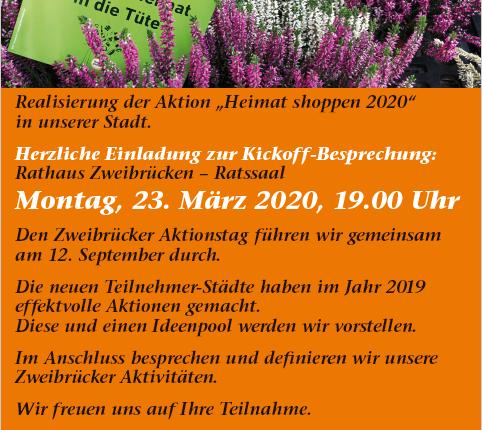 Einladung Teilnahme Heimat shoppen 2020